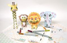 Colour your own Mibo, The NAKED Wild Bunch The Wild Bunch, Origami, Naked, Projects To Try, Printables, Creative, Holiday, Free, Color