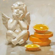 """Daily Paintworks - """"Angelic Slices"""" - Original Fine Art for Sale - © Carol Marine Art Watercolor, Food Painting, Guache, Painting Still Life, Fine Art Gallery, Chalk Art, Painting Inspiration, Art Lessons, Art Drawings"""