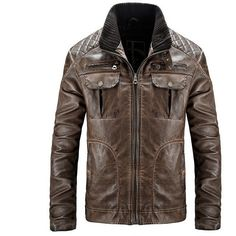 Vintage Motorcycle Style PU Leather Biker Jacket Multi Pockets... ($61) ❤ liked on Polyvore featuring men's fashion, men's clothing, men's outerwear, men's jackets, mens brown leather motorcycle jacket, mens brown jacket, mens zip jacket, mens motorcycle jacket and mens vintage jackets