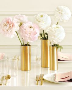Pale pink peonies in gold vases. Love. You take metal rolls of gold and copper and wrap simple vases in them, and just adhere with tape.
