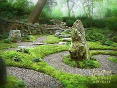 Spiritual Labyrinth Garden with Meditation Spot by AguaFina Pictures