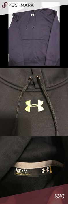 Under Armour hoodie Under Armour men's hoodie. Small logo only. Black with neon green logo. EUC. Loose fit. Size M Under Armour Shirts Sweatshirts & Hoodies