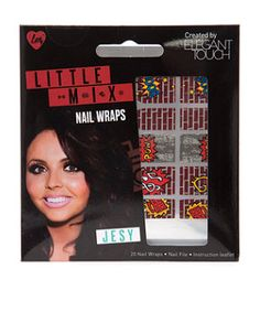 Little Mix with Elegant Touch. Were giving you the first look at these exclusive collaboration Little Mix nail wraps - perfect for giving your night out style a fun and quirky update, just like the little muffins themselves! Let Jesy save the day and be your comic book hero with these red brick wraps with bold comic slogan detail! £4.99 #newlookfashion #littlemixnails #nails #beauty
