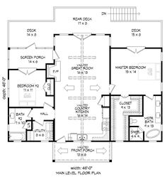Cabin, Contemporary, Southern, Traditional House Plan 51547 with 2 Beds, 2 Baths Level One 2 Bedroom House Plans, Cabin House Plans, Family House Plans, Craftsman Style House Plans, Best House Plans, Small House Plans, House Floor Plans, Square House Plans, The Plan