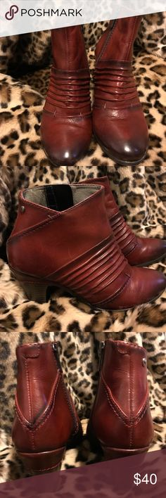 Pikolinos Red Leather Zip Up Booties Authentic Pikolinos. Made in Spain.  Women's Size 36. PIKOLINOS Shoes Ankle Boots & Booties