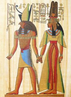 God Horus Holding Hand of Queen Nefertiti (Reprint From an Egyptian Painting) - People Posters (Reprint on Paper - Unframed) Ancient Egypt Art, Ancient History, European History, Ancient Aliens, Ancient Artifacts, Ancient Greece, American History, Egyptian Costume, Egyptian Art