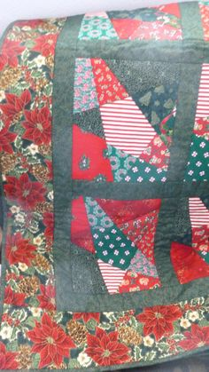 PLEASE REPIN:  CHRISTMAS QUILT done with Cut and Slash by DonnaleesTreasures, $80.00  If you are interested or have questions go to:  www.donnaleestreasures.etsy.com