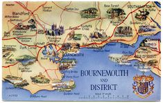 Postcard map of Bournemouth and District Vintage Travel Posters, Vintage World Maps, United Kingdom Map, East Yorkshire, Jurassic Coast, Picture Postcards, New Forest, Bournemouth, Down South