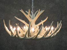 White Faux Antler Chandelier W12C by TheShabbyAntler on Etsy, $540.00