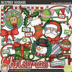 December Doodads is packed with all sorts of fun doodled pieces to help you record all your December memories! Included are plenty of journalling pieces along with cute character and themed doodles to add a touch of hand drawn whimsy to your December and Christmas pages and projects! #katehadfielddesigns