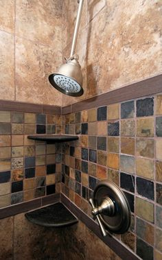 I like the different tiles and the built in shelves.