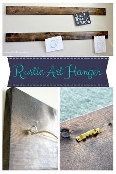 Our first DIY project - a Rustic Art Display Hanger - Making it in the Mountains Diy Rustic Decor, Rustic Art, Diy Wall Decor, Diy Home Decor, Diy Craft Projects, Decor Crafts, Wood Projects, Bergen, Palette