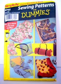 Vintage Sewing Pattern Fleece Pillow Quilt Blanket Carry Bags Simplicity 4745 For Dummies $5.00