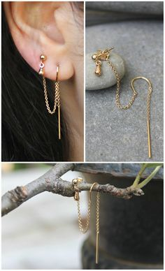 Dainty gold fill threader earrings and studs-drop combination. The chain from the threaded rod earring is connected to the ear nut of the ball studs & earrings. You can only wear these combo earrings, you have two piercings on one ear! Ear Jewelry, Cute Jewelry, Gold Jewelry, Jewelry Accessories, Jewelry Design, Gold Bracelets, Fabric Jewelry, Stylish Jewelry, Dainty Jewelry