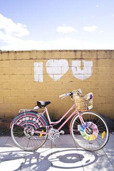 awesome crafty crochet bike skirt!    #bike #bicycle #biker #lady #girl #women #dutch #oma #fashion #style #helmet #crochet #knit #pink