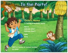 $7.99 Fun Green Flat Invitations And Announcements, Go Diego Go Flat Invitations And Announcements | Vistaprint