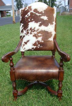 Western Cowhide Tall Arm Chair Custom Hair on Hide | eBay