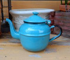 Turquoise Enamel Tea Pot / French Farmhouse by ZeldasCottage