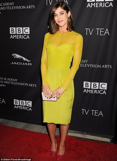 lizzy caplan turned every head in her chartreuse  cushnie et ochs dress and rupert sanderson pumps at the BAFTA Los Angeles TV Tea Party