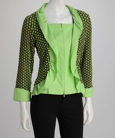 Take a look at this Brown & Lime Polka Dot Zip-Up Cardigan on zulily today!