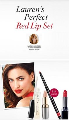 Get everything you need to rock a bold lip with Avon's Celeb Makeup Artist Lauren Andersen's Red Lip Set! www.youravon.com/delawaremichelle