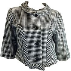 Snappy Black and White Houndstooth Cropped Jacket w/ Bow circa 1960s