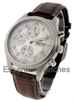 IWC 371702  Spitfire Chronograph in Steel - on Brown Leather Strap with Silver Dial     Certified Preowned   Item ID - 17065 Model # - 371702 Case - Stainless Steel Case Size - 42mm Movement - Automatic Dial - Silver Dial Bracelet - Brown Alligator Leather Strap Retail Price - $5,100 Your Price - $4,074