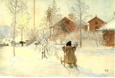 Carl Larsson (1859-1928): Britta and her Sled, watercolor, 1897