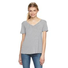 Juniors' SO® Perfectly Soft Striped Double V Tee