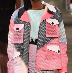Spray color blocking : mesh fabrication : jacket : spring