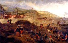Het Schuitengat in Scheveningen in 1646. Willem van Diest schilderde in 1646 het Schuitengat in Scheveningen met rechts op de voorgrond de visafslag op het strand. Rechts in het midden wordt een pink over palen op het strand getrokken. Rechts op de achtergrond is de kleine zeilwagen van Simon Stevin te zien. Links van het midden staat een man met een telescoop te kijken naar de schepen op zee.