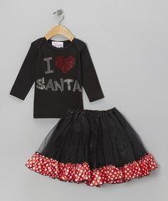 Take a look at this Black 'I Love Santa' Tee & Tutu- Infant, Toddler & Girls by The Princess and the Prince on #zulily today!
