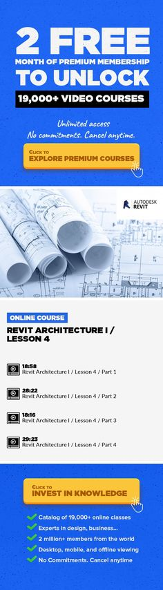 Revit Architecture I / Lesson 4 Animation, Design Thinking, 3D Rendering, CAD, Architecture, Graphic Design, Creative, Revit, BIM #onlinecourses #onlinecollegetips #onlinelessonsnaturallight   Revit Architecture I Introduction course covers basic Revit Architecture building information modelling (BIM) concepts. Topics include project creation, basic display, components, levels, walls, doors, windo...