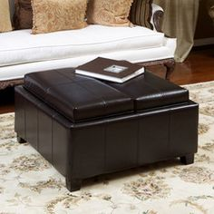 817056010781 Plymouth Espresso Leather Tray Top Storage Ottoman Full View in Room