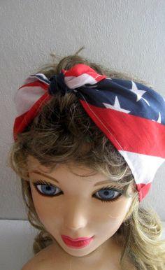 Bandana Head Band, 4th of July Headband, Patriotic Hair Accessory, Pin Up Hair Bandana,  Rockabilly, Dread Wrap, Head Wrap, Boho, Hippie by CrochetnMoreByAlida on Etsy