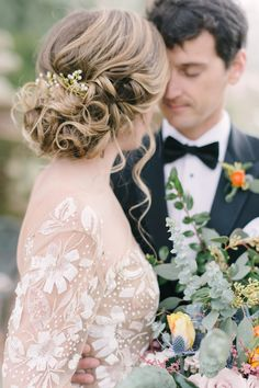 Loose and low updo wedding hairstyle