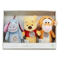 Shake your way to playtime fun with this set of 3 plush rattles featuring Winnie the Pooh and friends. The Eeyore rattle will chime when shaken, the Pooh rattle will rattle when shaken, and the Tigger rattle will squeak when squeezed. Winnie The Pooh Plush, Winnie The Pooh Nursery, Winne The Pooh, Bear Nursery, Disney Winnie The Pooh, Baby Disney, Baby Shower Gifts For Boys, Baby Gifts, Disney Baby Nurseries