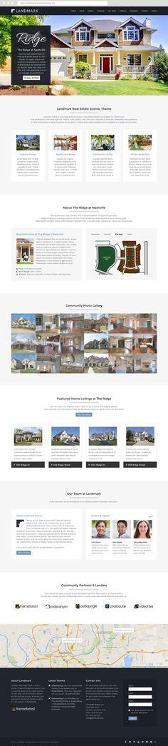 Landmark Real Estate Built on Joomla 3 CMS, for home builders, realtors, real estate agents, and more. Joomla Themes, Professional Web Design, Estate Agents, Home Builders, Real Estate, Templates, Website, Inspiration, Biblical Inspiration