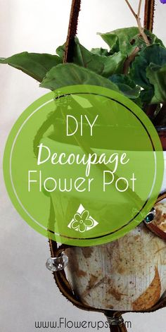 Decoupaged Flower Pot - Used rice paper to cover an old flower pot - perfect for indoor gardening container