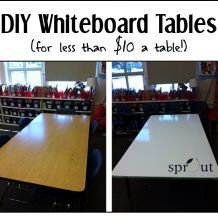 Classroom DIY: Whiteboard Tables - If you like your students being able to work collaboratively OR if you are short whiteboard space - this is for you! What a great DIY! This would also be great for the homeschool room that needs an extra whiteboard surface without using up valuable wall space.