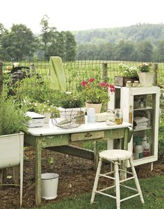 Garden potting table.