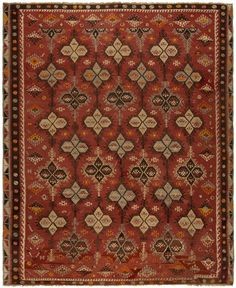 Early 20th Century Turkish Rug with an unusual design. Price range: $20,000 - $100,00. Visit out website for more details.  http://dorisleslieblau.com/antique-rugs/antique-turkish-rugs?start=25