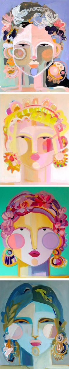 Hayley Mitchell paints people that you want to meet. Clad in bright colors, the Cubist-inspired ladies are adorned with beautiful headpieces and jewelry.
