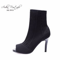 50.00$  Buy now - http://ali8um.shopchina.info/go.php?t=32801556582 - Arden Furtado Women Shoes Sexy 2017 Summer Short ankle Boots Ladies Fashion High Heels Woman stretch boots thin heels fish mouth 50.00$ #SHOPPING