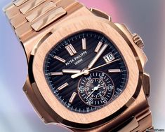 百達翡麗 (Patek Philippe) [NEW] 5980/1R Nautilus Black Dial RG Chrono Auto Watch (Retail:HK$636,600) ~ August Special: HK$579,000.