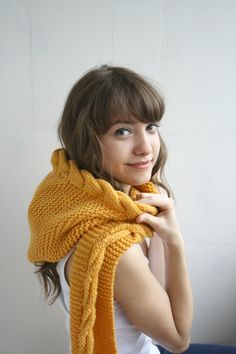 Yellow Mustard Wool Hooded Cabled Long Scarf Cowl by denizgunes