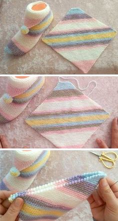 Simple step by step slippers tutorial - Knitting # slippers knit . Simple step by step slippers tutorial – knitting # pantoufl Knitting Stitches, Knitting Designs, Knitting Socks, Knitting Patterns Free, Free Knitting, Baby Knitting, Crochet Patterns, Crochet Slipper Pattern, Crochet Socks