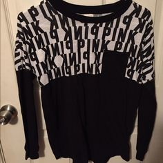 PINK black and white shirt Worn once great condition. Victoria's Secret Tops Tees - Long Sleeve