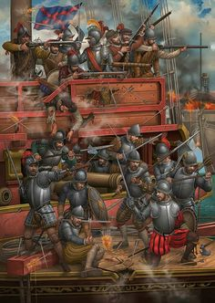 Painting by Angel García Pinto, done for Desperta Ferro magazine. It depicts the prow of a Spanish galley locked in action at Lepanto Military Art, Military History, Battle Of Lepanto, Thirty Years' War, Early Modern Period, Landsknecht, Renaissance Era, Historical Art, Historical Illustrations