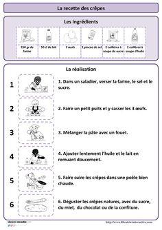 Une recette simple pour réaliser des crêpes, plusieurs affiches et des documents pédagogiques pour l'exploiter en maternelle (PS MS et GS) et au cycle 2 (CP et CE1) à la Chandeleur ou à d'autres moments de l'année.
